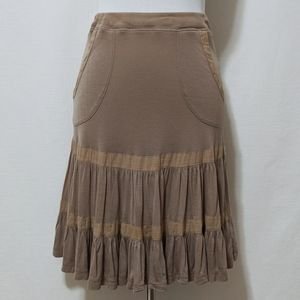 Free People Full Ruffle Beige Skirt w/ Pockets XS